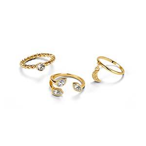 set de anillos three diamonds x3